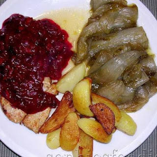 Chicken With Cranberry, Port & Orange Sauce, Served With Sugared Braised Endive