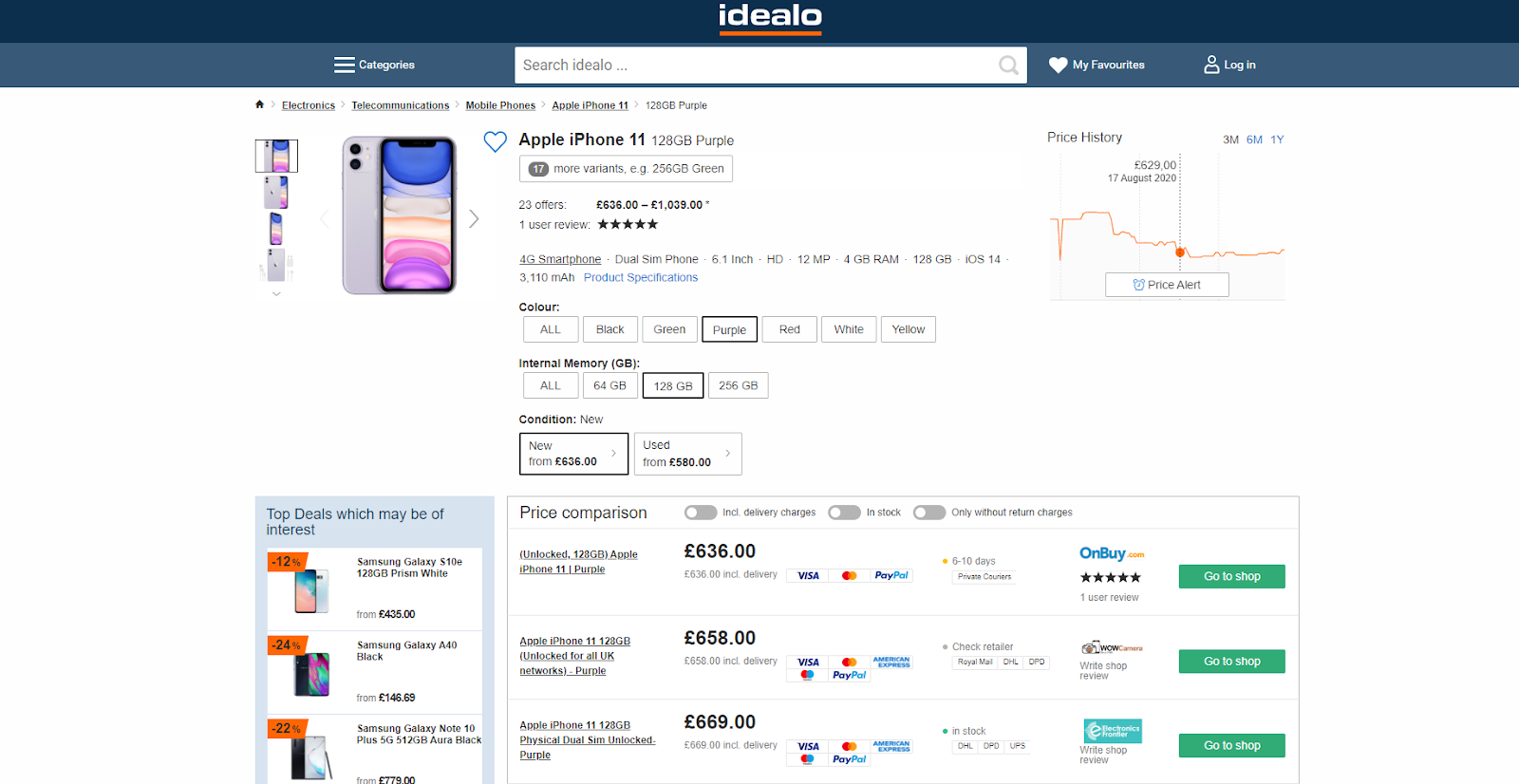 Idealo – a price comparison site