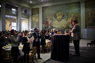 Photo: 9 Feb. 2012, Cambridge, MA - The audience stands and applauds Prof. Tapia's address as MIT presents the 38th Annual Martin Luther King, Jr. Breakfast Celebration, featuring a keynote address from Rice University's Richard Tapia...Photo by Dominick Reuter
