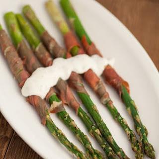 Asparagus With Prosciutto And Creamy Lemon Tarragon Sauce.