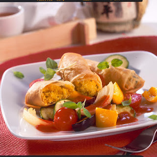 Cous Cous Stuffed Spring Rolls with Ratatouille.