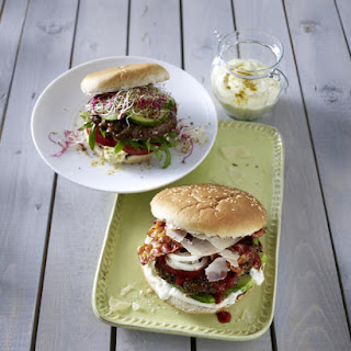 Broiled Burgers with Curry Sauce.