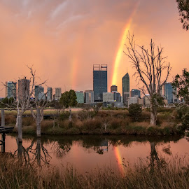Spectacular rainbow sunset over Perth by Clarissa Human - City,  Street & Park  Skylines ( rainbow, city, reflections, perth, weather, perth city, cityscape, australia, skyline,  )