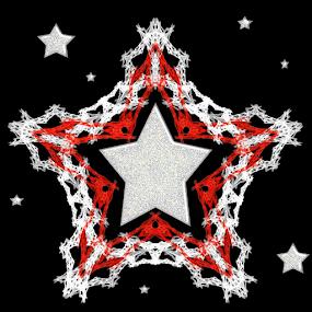 Star Bright by Nancy Bowen - Illustration Holiday ( black background, red, stars, white, snowflake )