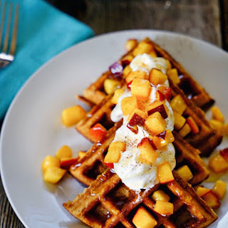 Date Honey Bran Waffles with Cinnamon Peaches