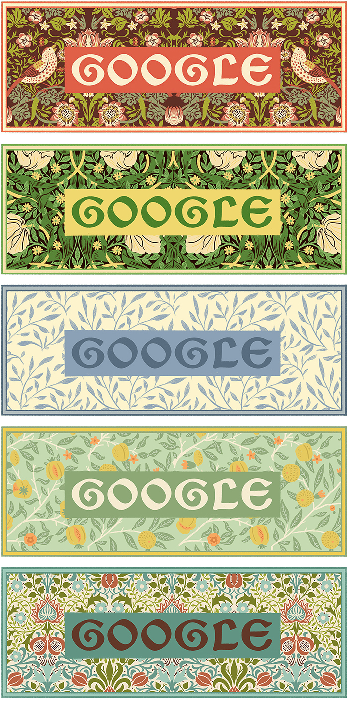 All 5 William Morris inspired Doodles
