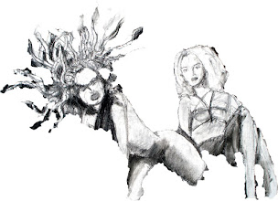 """Photo: Medusa (sketch 2), mask layer, 2012, 12"""" x 17"""", original is charcoal on primed canvas sheet."""