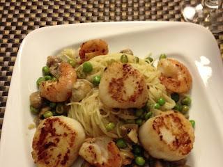 Seared Scallops & Shrimp Over Angel Hair Pasta Recipe