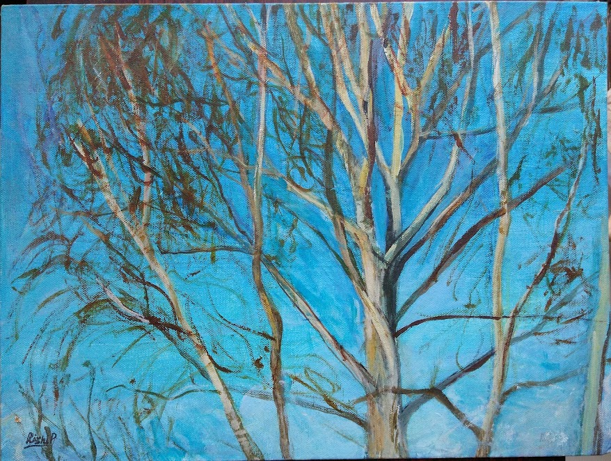 Acrylic on canvas - Tree in winter light