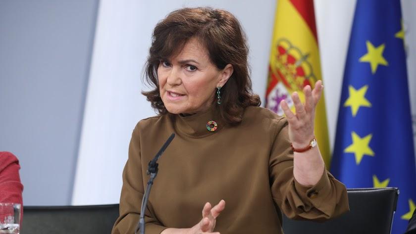 La vicepresidenta, Carmen Calvo, explica los acuerdos del Gobierno tras el Consejo de Ministros de este viernes