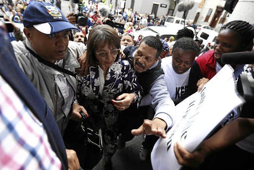 Patricia de Lille arrives at the High Court in Cape Town on Friday.