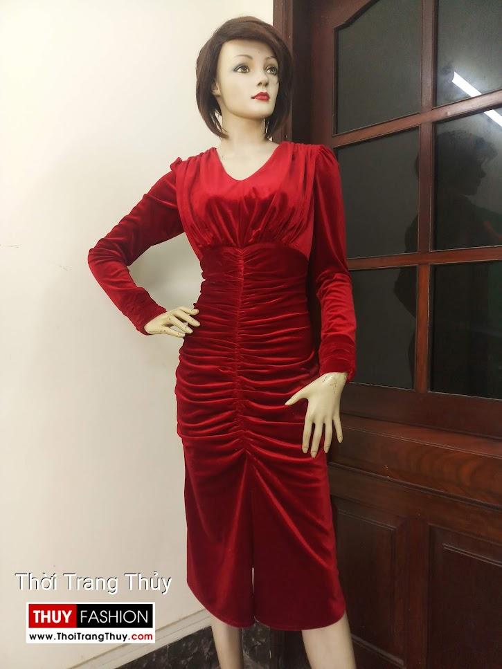 Váy dự tiệc Xếp nhun Vải nhung quyến rũ V671 hà nội