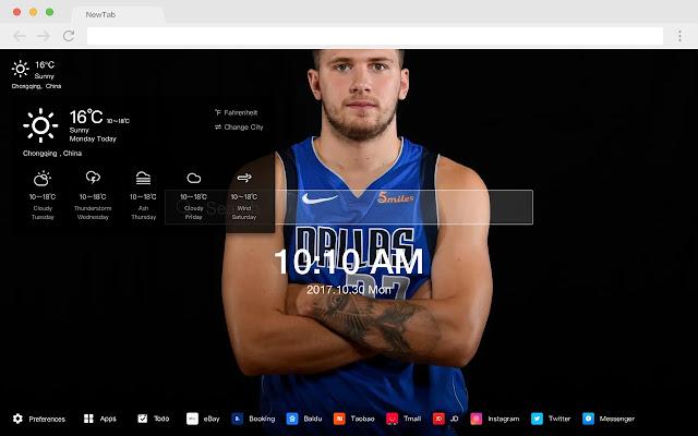 Luca Dongcic HD Popular NBA New Tabs Theme