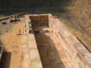 Photo: Bricks in the middle signify where the chimney flues will be.