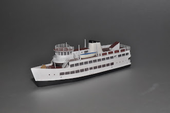 Photo: Z Scale 125' Harbor Cruise Ship, port view. Available now.