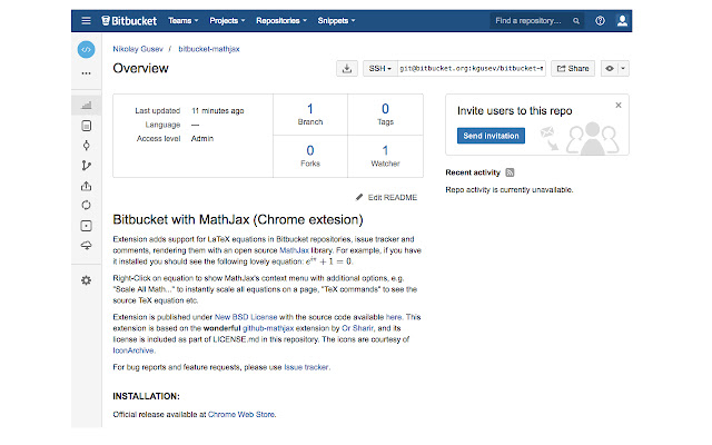 BitBucket with MathJax