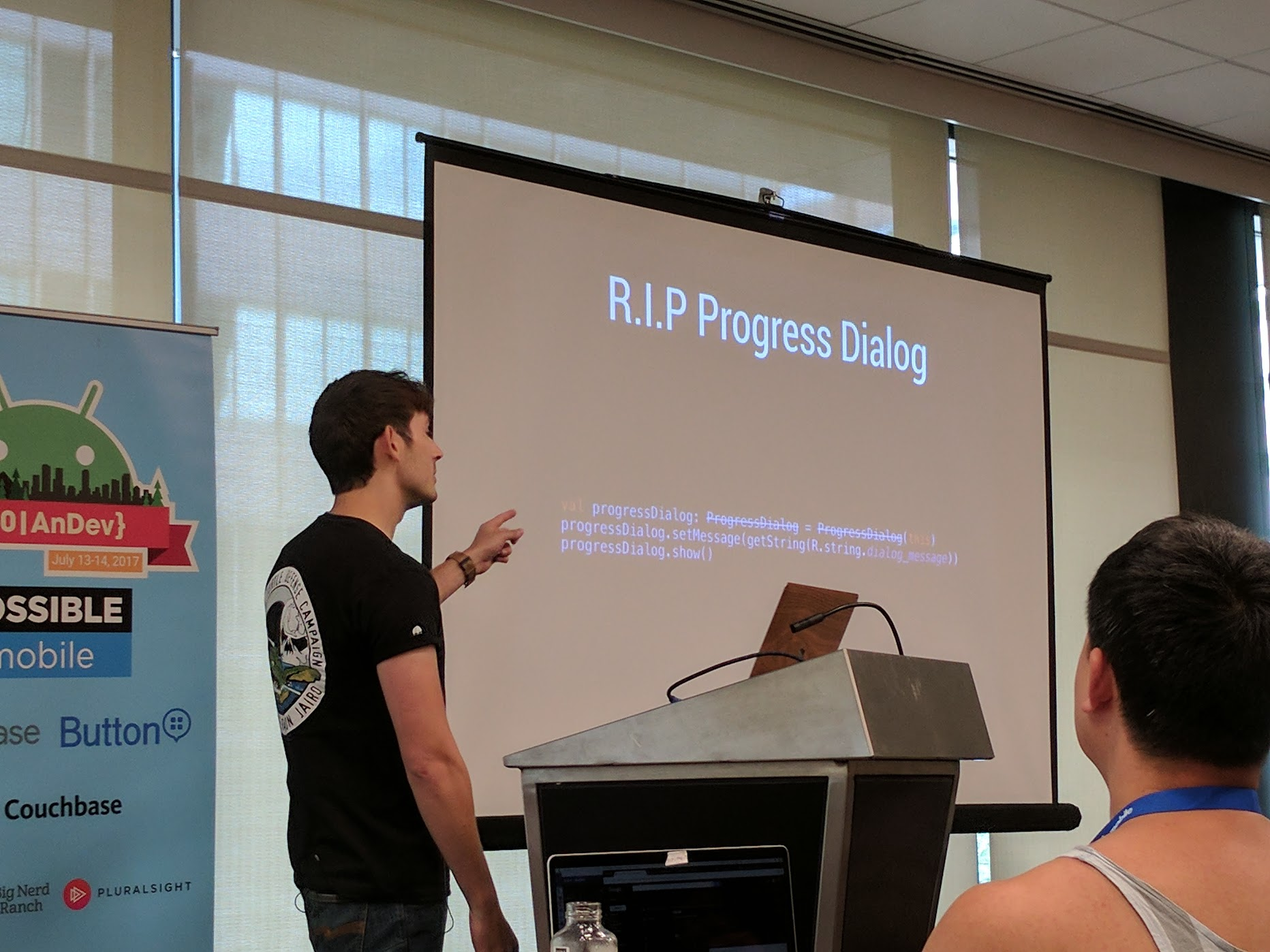 Joe Birch talking about removing removing progress dialogs for a more optimistic UI