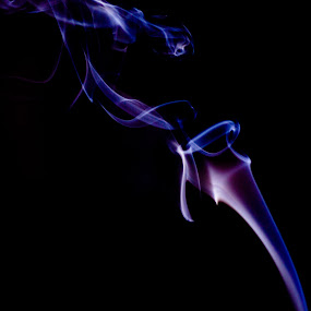 spitting smoke by Lubelter Voy - Abstract Fine Art ( blue, white, translucent, transparent, smoke, black )