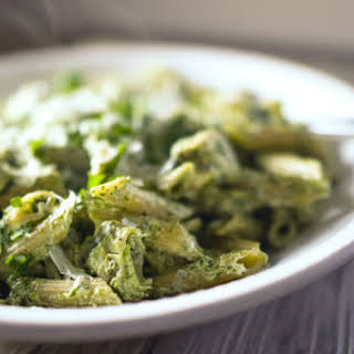 Chicken & Artichoke Pasta with Kale Pesto.