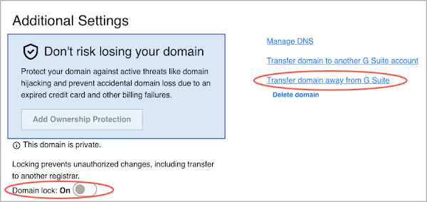 A red circle highlights the Domain Lock button.