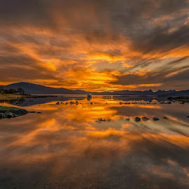Sunset reflections by Benny Høynes - Landscapes Sunsets & Sunrises ( sigma, seascape, reflections, sunset, sony alpha, norway, evening, lake, colors, latest,  )