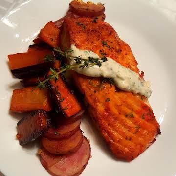 Cajun Sauteed Salmon w/ Rainbow Carrots and Potato