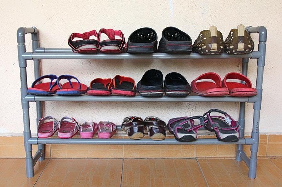 DIY rak kasut dari paip PVC