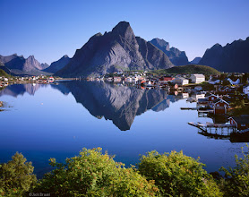 Photo: The fishing village of Reine is on Moskenesøya Island, perhaps the most rugged and impressive of the Lofoten Islands. This rare calm day provided the opportunity I was hoping for to photograph the reflection of the village and the massive peak behind it. Every person around here this morning was just in awe of the scene.