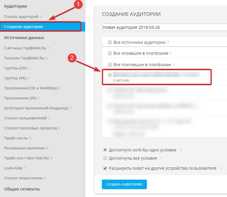 Создание аудитории по счётчику Top@Mail.Ru