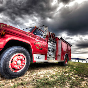 Firetruck (HDR) by Cody Miller - Transportation Automobiles ( clouds, field, red, sky, hdr, church, truck, color, firetruck, broke down, fire, abandoned )