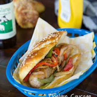 Chicken Sausage Sandwich on a Pretzel Roll.
