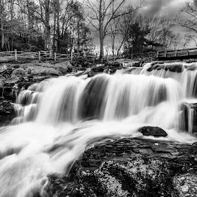 Rush by Matthew Robertson - Black & White Landscapes ( water, devils hopyard, connecticut, waterfall, cloudy, long exposure )