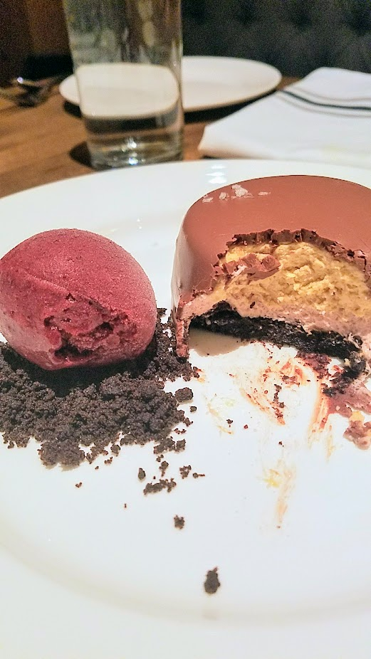 Tanner Creek Tavern Chocolate Peanut Butter Mousse Cake with Blackberry Sorbet
