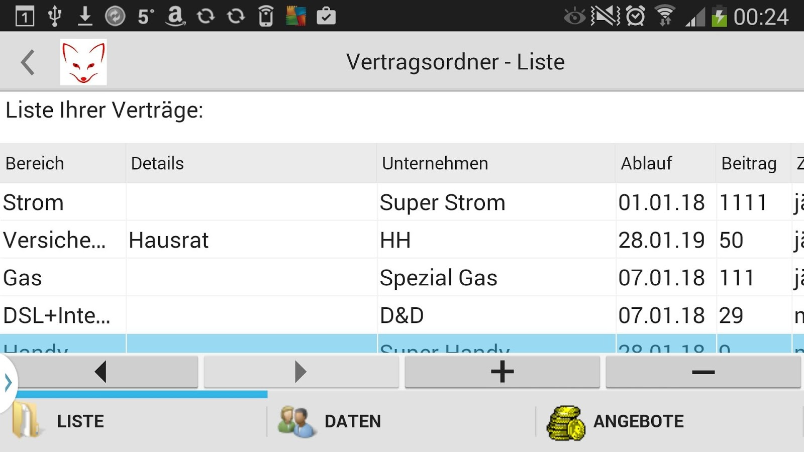 SparFuchs  Gas Strom DSL Handy- screenshot