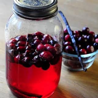 Homemade Cranberry Vanilla Vodka.