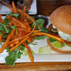 gluten free burger with sweet potato fries from the dedicated fryer