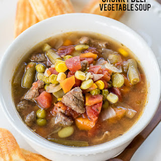 Slow Cooker Chunky Beef Vegetable Soup.