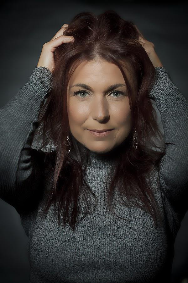 by Jerry Sjödin - People Portraits of Women ( long hair, woman, grey, redhead, women, eyes,  )