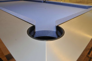American Pool Pocket - Brushed Aluminium with Blue Cloth