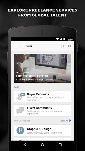 Screenshot 1 for Fiverr's Android app'