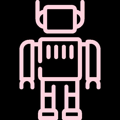 objet déco rrobot en béton coloré