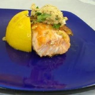 Panko Mustard Herb Encrusted Salmon