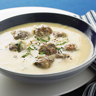 Creamy Lemon Soup with Lamb Mint Meatballs
