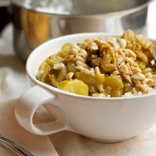 Chicken Curry with Bananas, Raisins, and Peanuts.