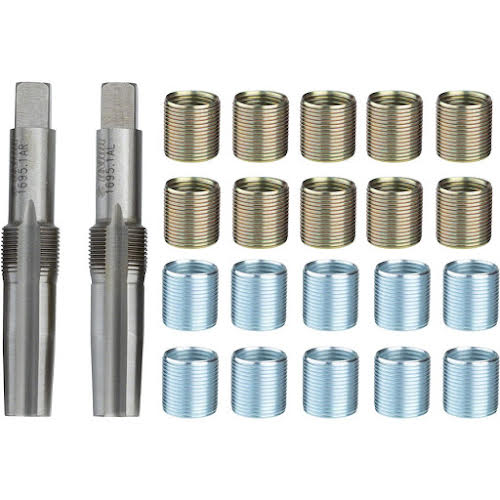 "Unior Proprietary Reaming Pedal Tap and Thread Insert Set 9/16"", with 20 Pedal Inserts, Brass/Silver"