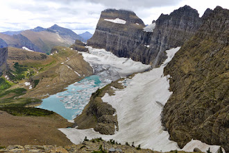 Photo: Grinnell Glacier above the lake, and Salamander Glacier to right of lake.
