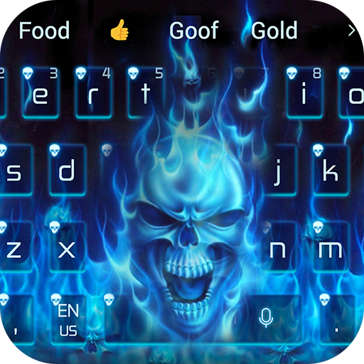 Blue Hell Flame Skull Keyboard Theme