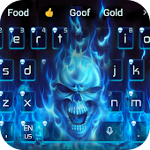 Blue Hell Flame Skull Keyboard Theme