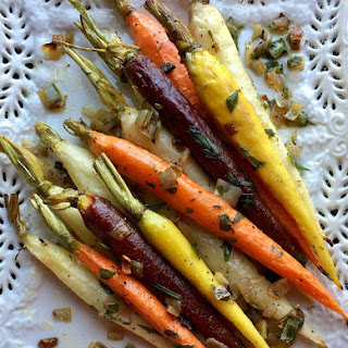Roasted Tri-Colored Tarragon Carrots.