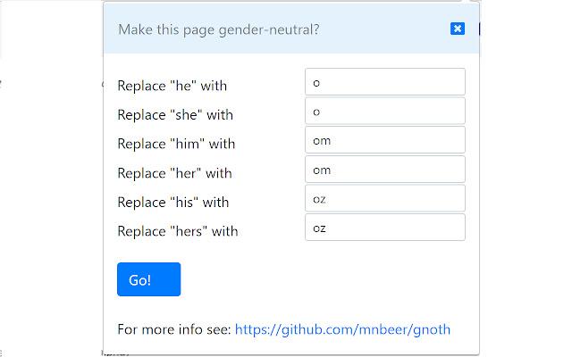 NoNoun: Gender Neutral 3rd Person Plug-In